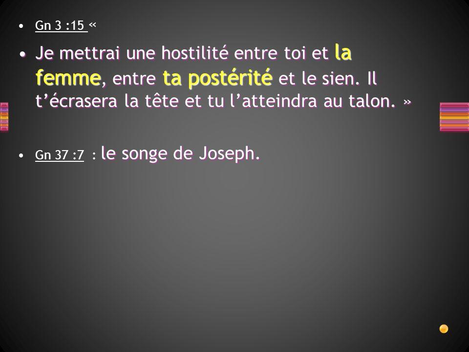 Gn 3 :15 « Je mettrai une hostilité entre toi et la femme, entre ta postérité et le sien. Il técrasera la tête et tu latteindra au talon. »Je mettrai