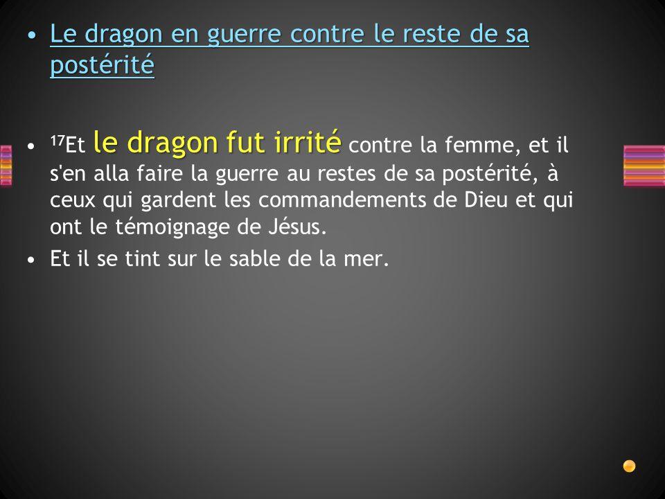 Le dragon en guerre contre le reste de sa postéritéLe dragon en guerre contre le reste de sa postérité le dragon fut irrité 17 Et le dragon fut irrité