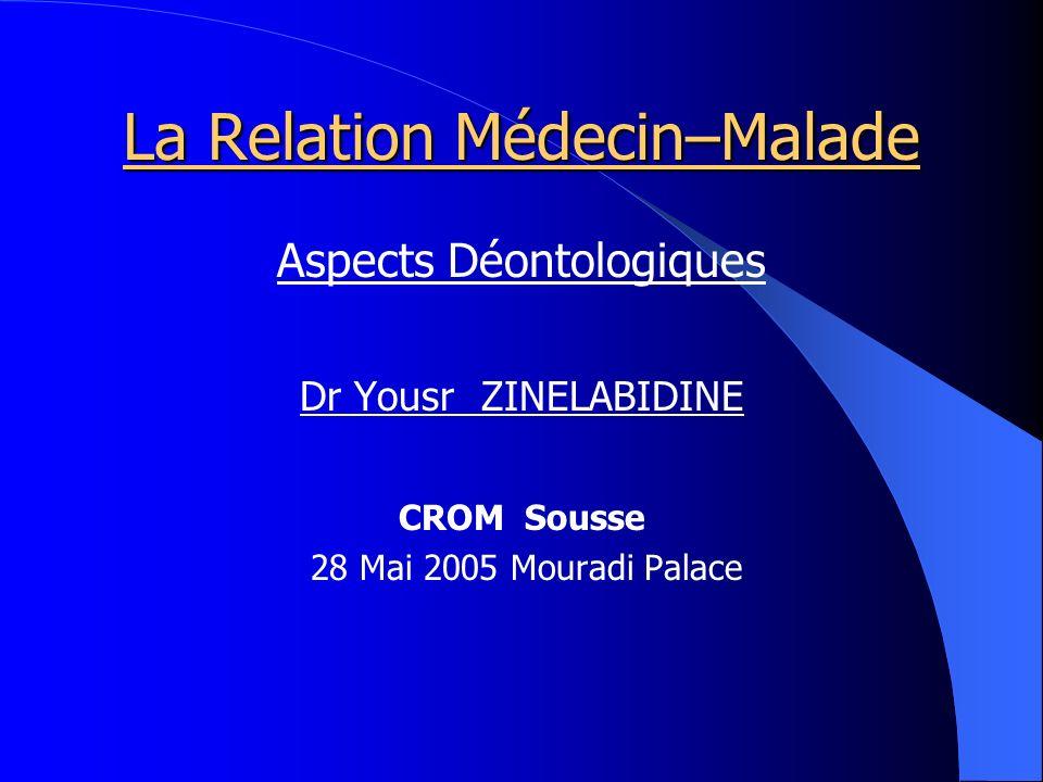 La Relation Médecin–Malade Aspects Déontologiques Dr Yousr ZINELABIDINE CROM Sousse 28 Mai 2005 Mouradi Palace