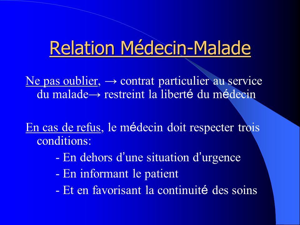 Relation Médecin-Malade Ne pas oublier, contrat particulier au service du malade restreint la libert é du m é decin En cas de refus, le m é decin doit respecter trois conditions: - En dehors d une situation d urgence - En informant le patient - Et en favorisant la continuit é des soins