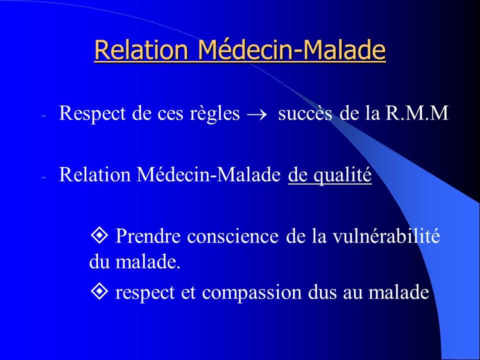 Relation Médecin-Malade - Respect de ces règles succès de la R.M.M - Relation Médecin-Malade de qualité Prendre conscience de la vulnérabilité du malade.