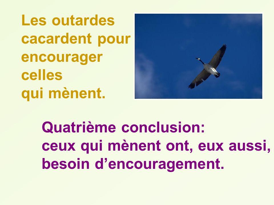 Les outardes cacardent pour encourager celles qui mènent. Quatrième conclusion: ceux qui mènent ont, eux aussi, besoin dencouragement.