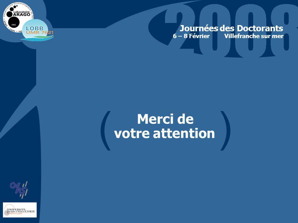 Merci de votre attention Journées des Doctorants Villefranche sur mer6 – 8 Février ( )