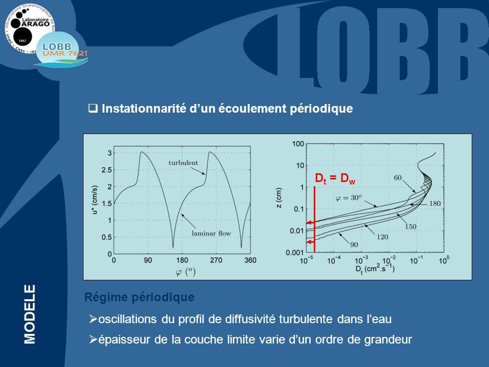 Instationnarité dun écoulement périodique MODELE oscillations du profil de diffusivité turbulente dans leau épaisseur de la couche limite varie dun ordre de grandeur Régime périodique D t = D w