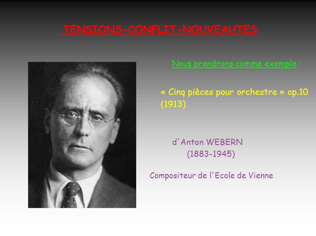 TENSIONS-CONFLIT-NOUVEAUTES Nous prendrons comme exemple : « Cinq pièces pour orchestre » op.10 (1913) d Anton WEBERN (1883-1945) Compositeur de l Ecole de Vienne