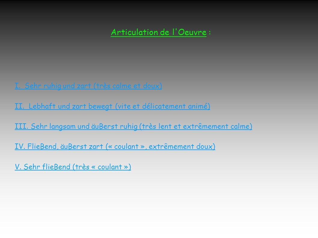 Articulation de l Oeuvre : I.Sehr ruhig und zart (très calme et doux) II.