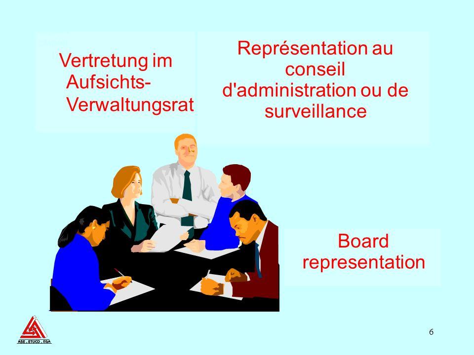 6 Board representation Représentation au conseil d administration ou de surveillance Vertretung im Aufsichts- Verwaltungsrat Board Represe ntation 1