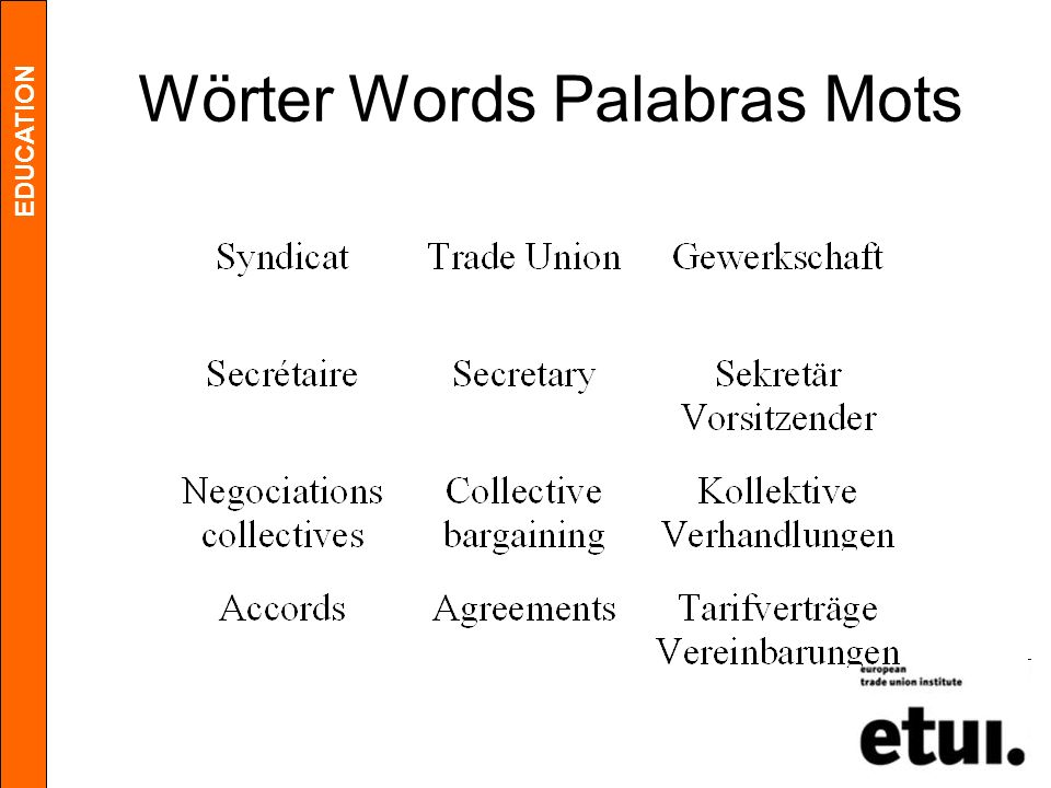 EDUCATION Wörter Words Palabras Mots