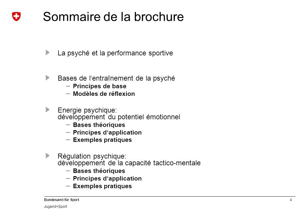 4 Bundesamt für Sport Jugend+Sport La psyché et la performance sportive Bases de lentraînement de la psyché – Principes de base – Modèles de réflexion