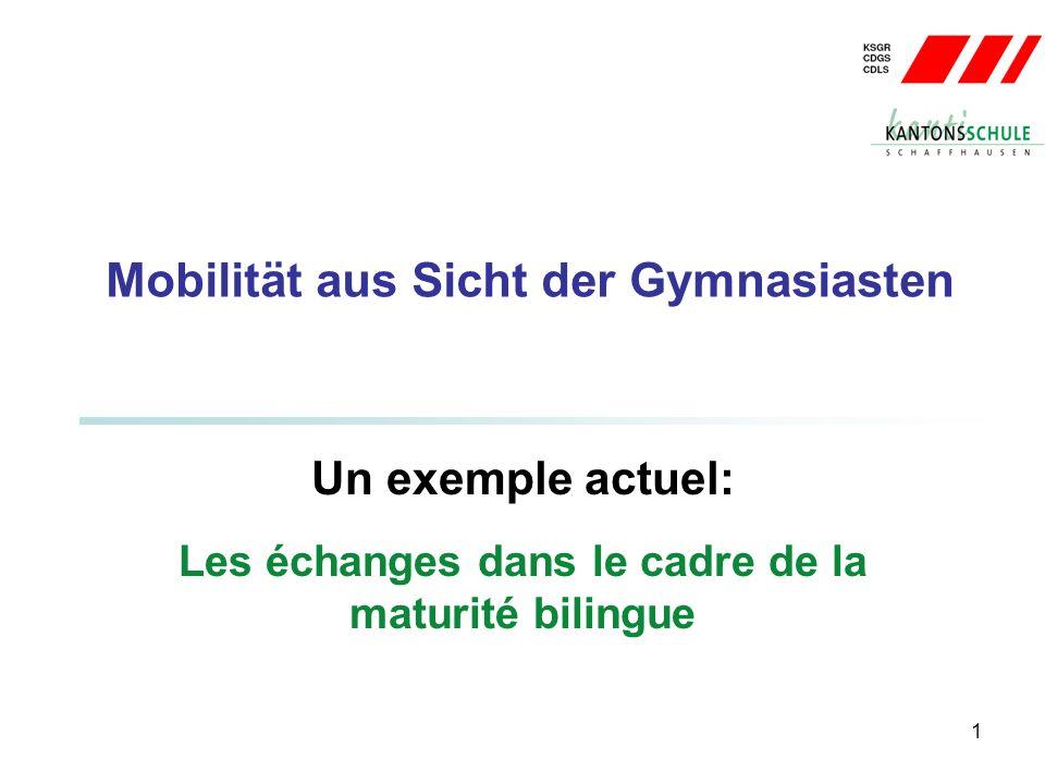 1 Mobilität aus Sicht der Gymnasiasten Un exemple actuel: Les échanges dans le cadre de la maturité bilingue