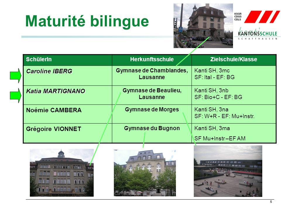 5 Maturité bilingue SchülerInHerkunftsschuleZielschule/Klasse Caroline IBERG Gymnase de Chamblandes, Lausanne Kanti SH, 3mc SF: Ital - EF: BG Katia MARTIGNANO Gymnase de Beaulieu, Lausanne Kanti SH, 3nb SF: Bio+C - EF: BG Noémie CAMBERA Gymnase de MorgesKanti SH, 3na SF: W+R - EF: Mu+Instr.