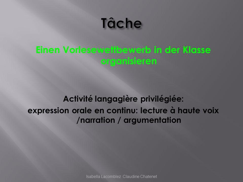 Einen Vorlesewettbewerb in der Klasse organisieren Activité langagière privilégiée: expression orale en continu: lecture à haute voix /narration / arg