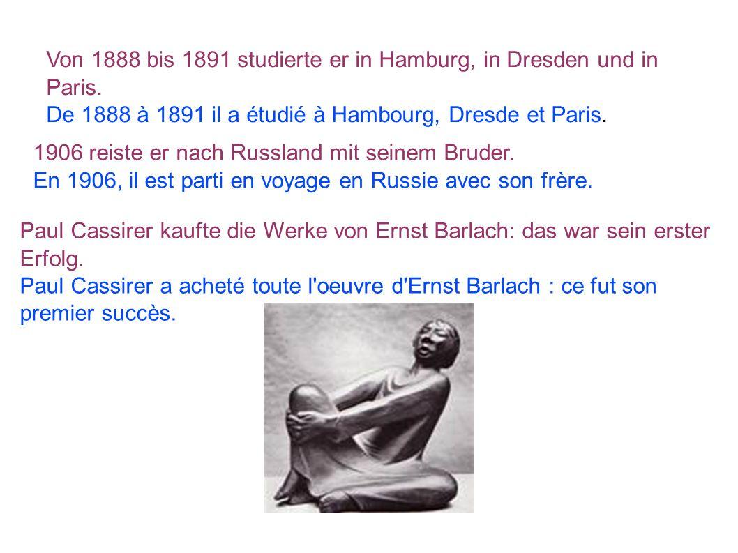 Von 1888 bis 1891 studierte er in Hamburg, in Dresden und in Paris. De 1888 à 1891 il a étudié à Hambourg, Dresde et Paris. 1906 reiste er nach Russla