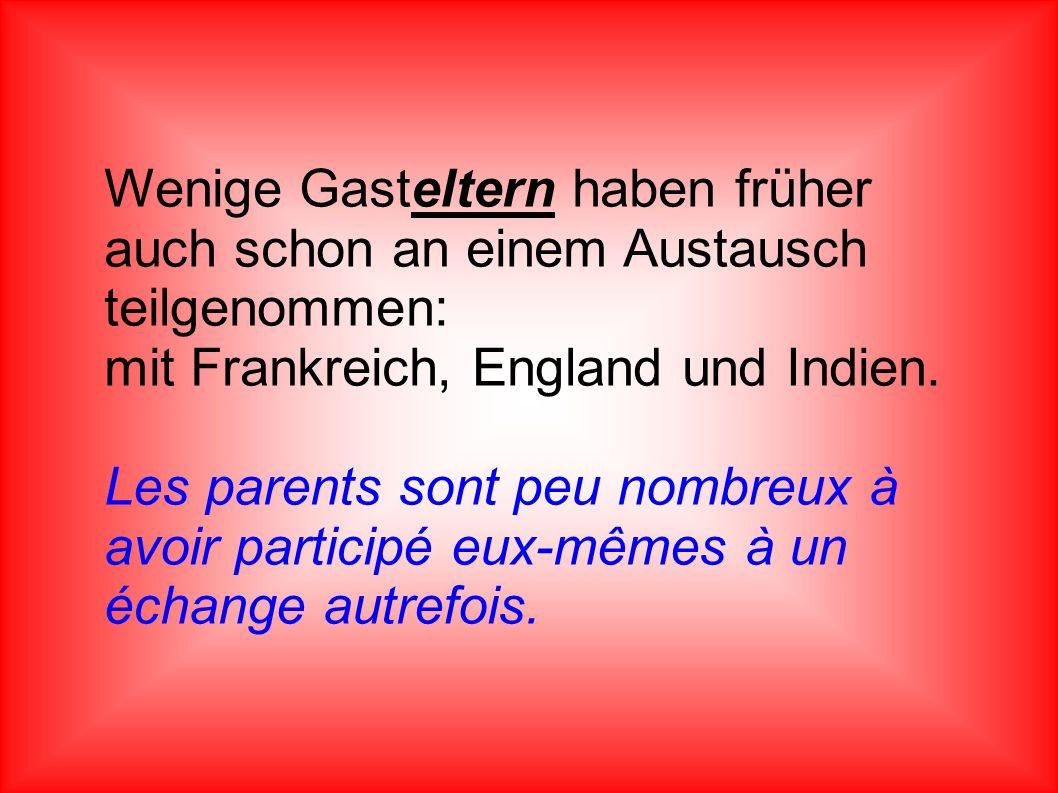 Wenige Gasteltern haben früher auch schon an einem Austausch teilgenommen: mit Frankreich, England und Indien. Les parents sont peu nombreux à avoir p