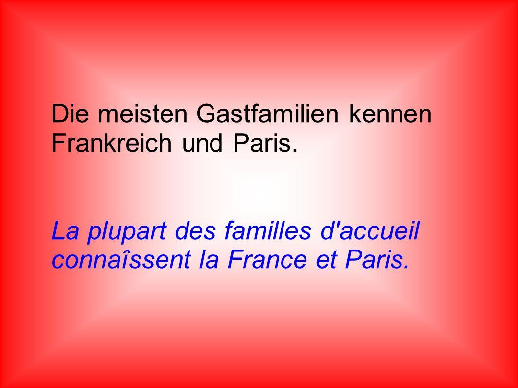 Die meisten Gastfamilien kennen Frankreich und Paris. La plupart des familles d'accueil connaîssent la France et Paris.
