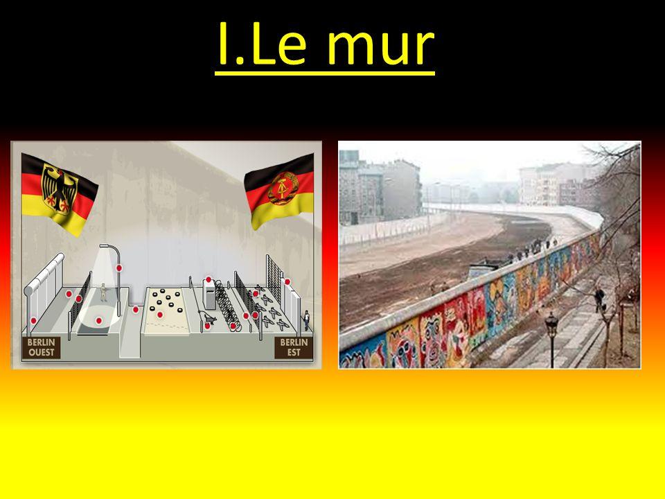 I.Tentatives de franchir le mur Il y a 192 personnes qui sont mortes en tentant de franchir le mur dont ce soldat est-allemand : Konrad Schuman né en 1942.