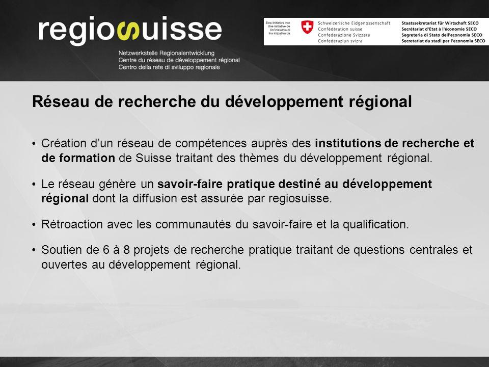 Réseau de recherche du développement régional Création dun réseau de compétences auprès des institutions de recherche et de formation de Suisse traitant des thèmes du développement régional.