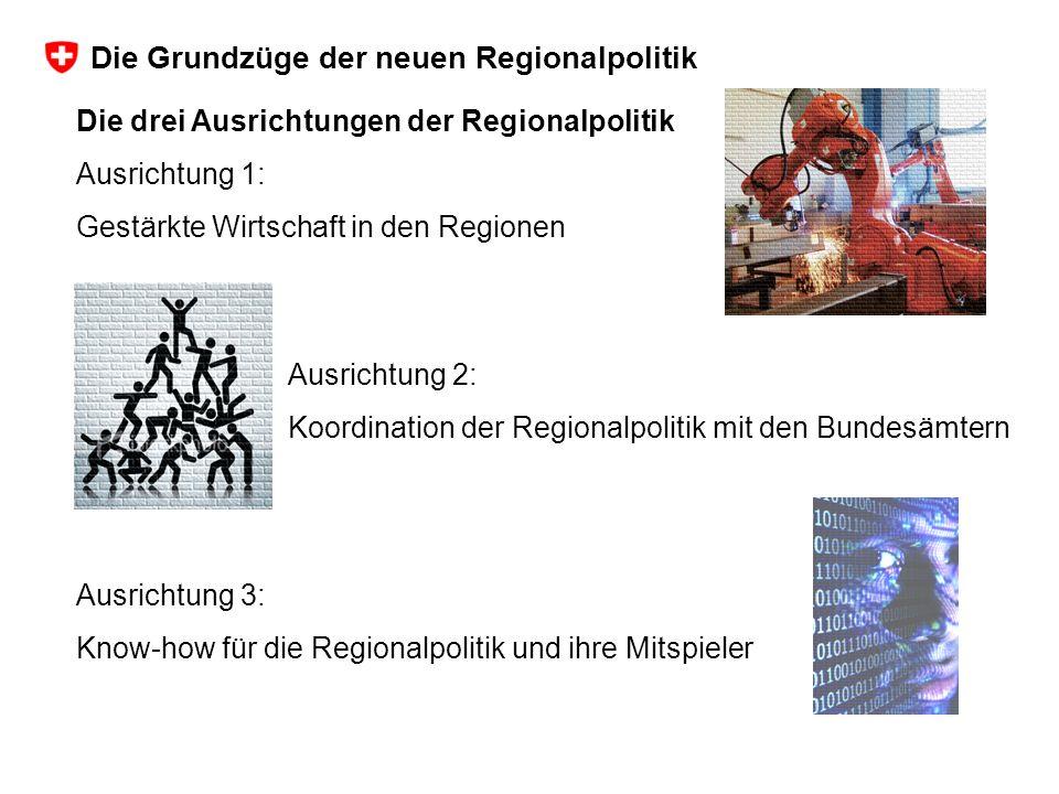 Die drei Ausrichtungen der Regionalpolitik Ausrichtung 1: Gestärkte Wirtschaft in den Regionen Ausrichtung 3: Know-how für die Regionalpolitik und ihre Mitspieler Ausrichtung 2: Koordination der Regionalpolitik mit den Bundesämtern Die Grundzüge der neuen Regionalpolitik