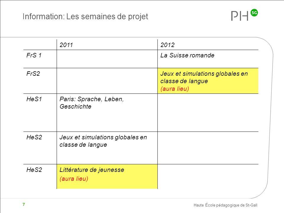 Haute École pédagogique de St-Gall 7 Information: Les semaines de projet 20112012 FrS 1La Suisse romande FrS2Jeux et simulations globales en classe de