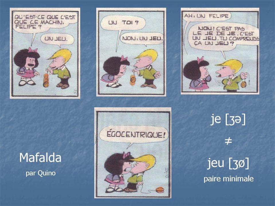 Mafalda par Quino je [ʒə] jeu [ʒø] paire minimale