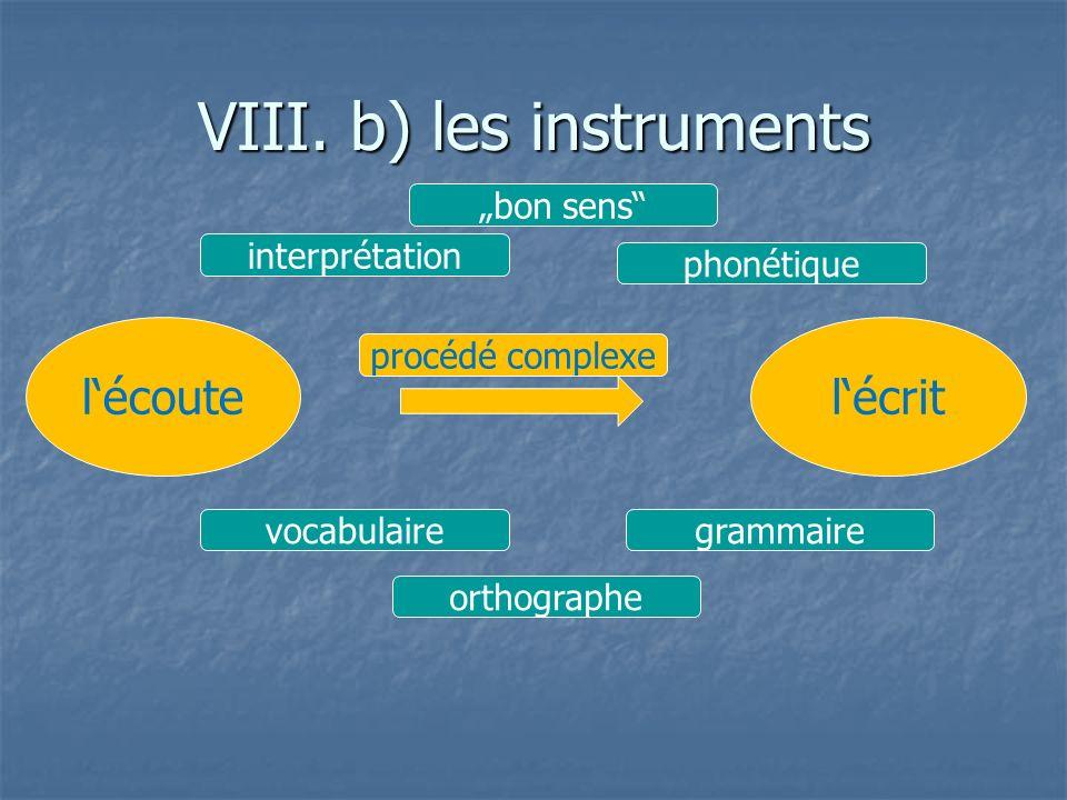 VIII. b) les instruments lécoutelécrit interprétation bon sens vocabulairegrammaire phonétique orthographe procédé complexe
