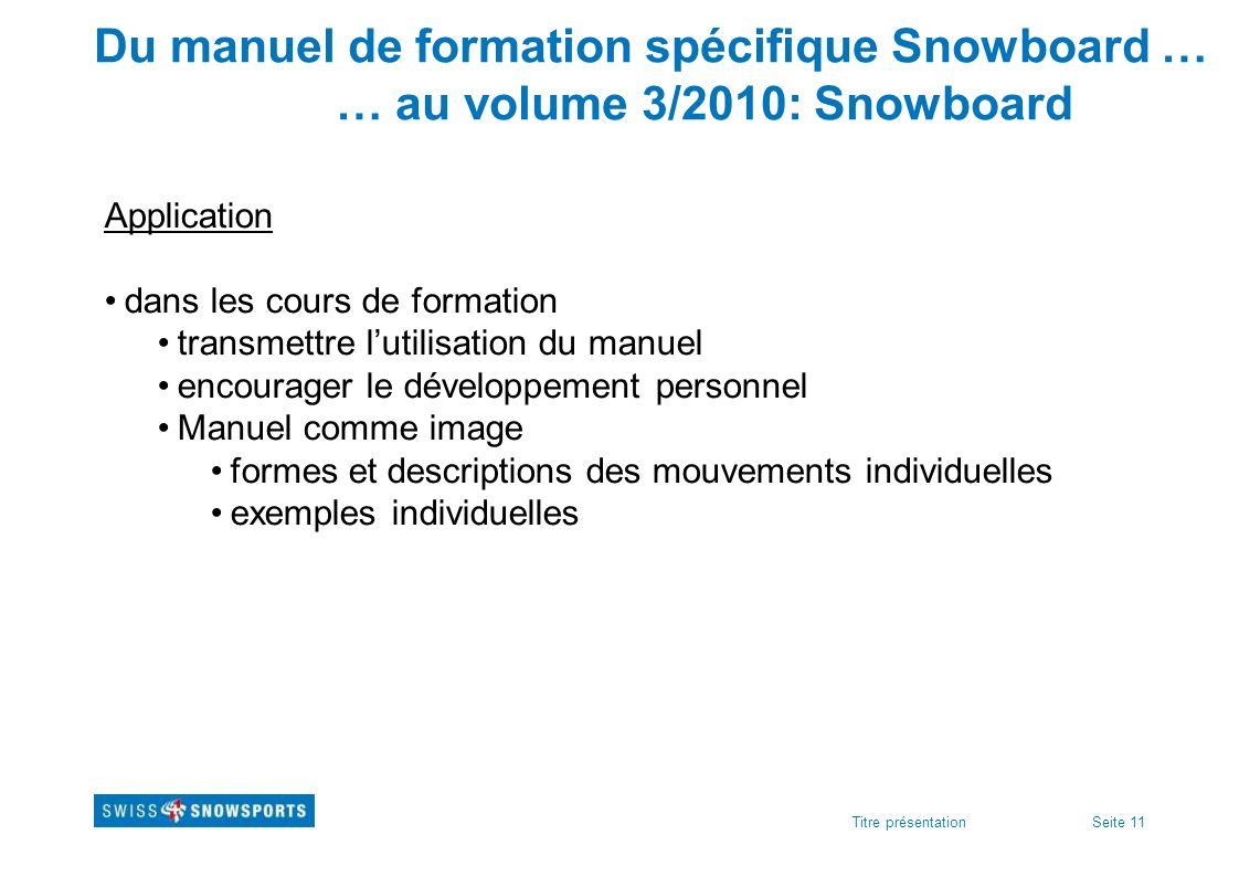 Seite 11Titre présentation Du manuel de formation spécifique Snowboard … … au volume 3/2010: Snowboard Application dans les cours de formation transme
