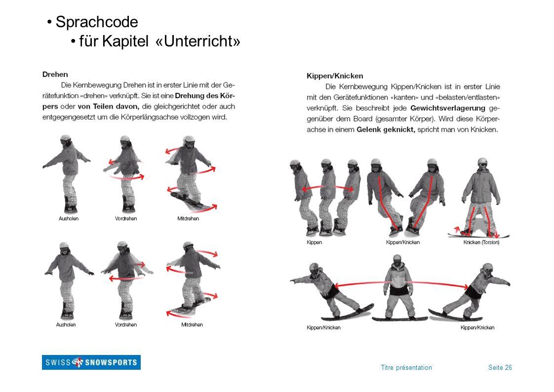 Seite 26Titre présentation Sprachcode für Kapitel «Unterricht»