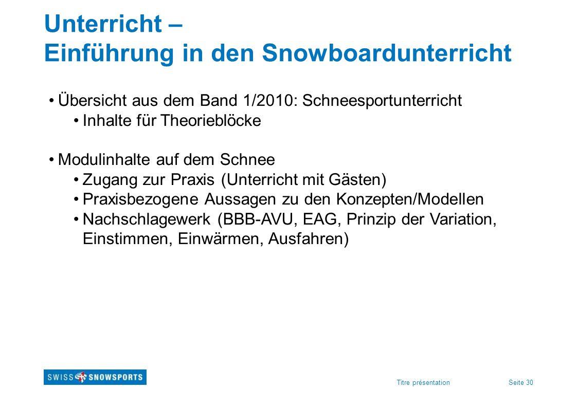Seite 30Titre présentation Unterricht – Einführung in den Snowboardunterricht Übersicht aus dem Band 1/2010: Schneesportunterricht Inhalte für Theorie