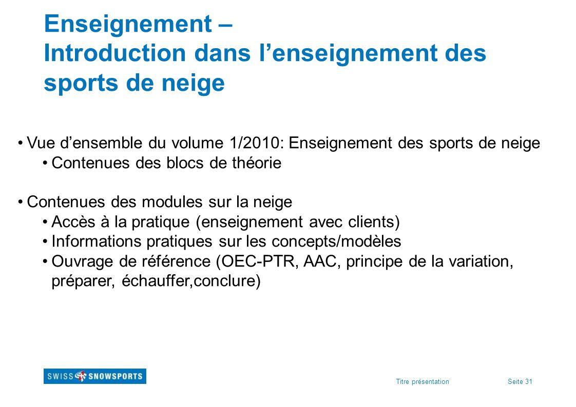 Seite 31Titre présentation Enseignement – Introduction dans lenseignement des sports de neige Vue densemble du volume 1/2010: Enseignement des sports