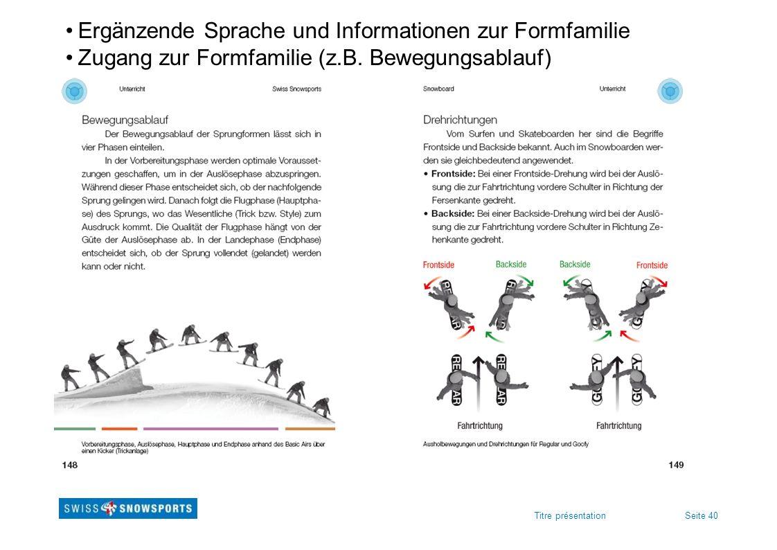 Seite 40Titre présentation Ergänzende Sprache und Informationen zur Formfamilie Zugang zur Formfamilie (z.B. Bewegungsablauf)