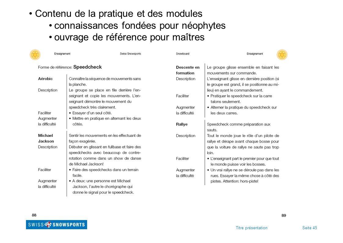 Seite 45Titre présentation Contenu de la pratique et des modules connaissances fondées pour néophytes ouvrage de référence pour maîtres
