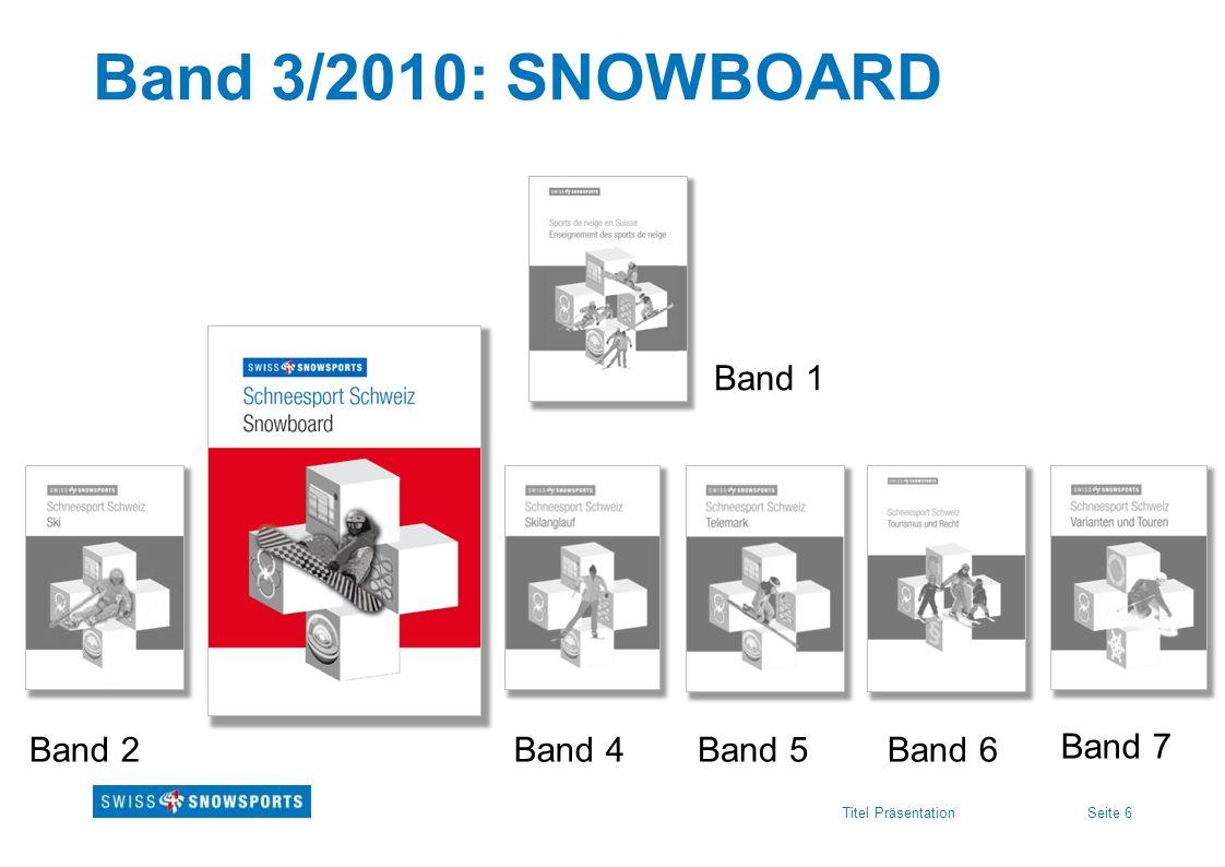Seite 6Titel Präsentation Band 3/2010: SNOWBOARD Band 1 Band 2Band 4Band 5Band 6 Band 7