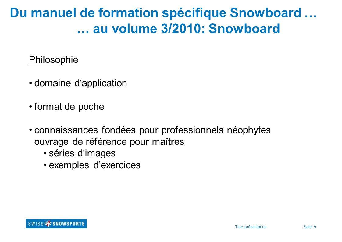 Seite 9Titre présentation Du manuel de formation spécifique Snowboard … … au volume 3/2010: Snowboard Philosophie domaine dapplication format de poche