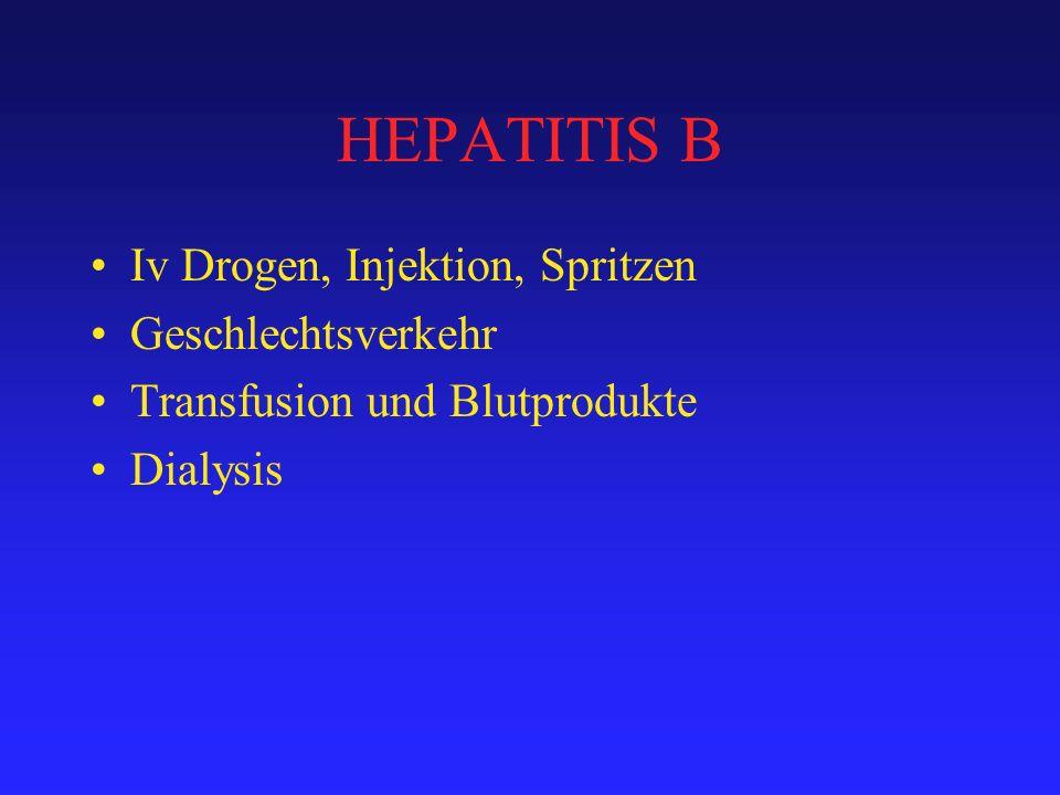 HEPATITIS B Iv Drogen, Injektion, Spritzen Geschlechtsverkehr Transfusion und Blutprodukte Dialysis
