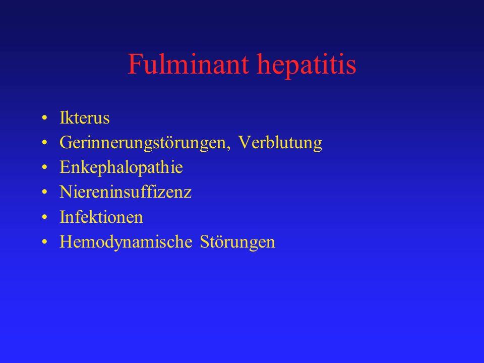 Fulminant hepatitis Ikterus Gerinnerungstörungen, Verblutung Enkephalopathie Niereninsuffizenz Infektionen Hemodynamische Störungen
