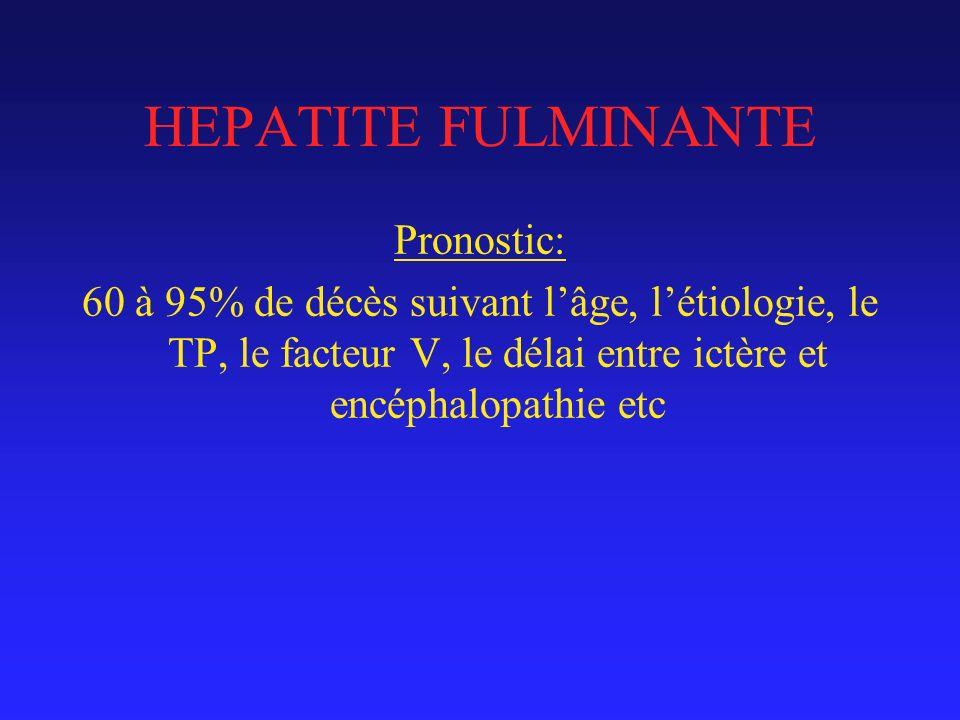 HEPATITE FULMINANTE Pronostic: 60 à 95% de décès suivant lâge, létiologie, le TP, le facteur V, le délai entre ictère et encéphalopathie etc