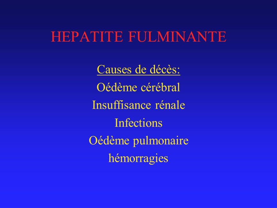 HEPATITE FULMINANTE Causes de décès: Oédème cérébral Insuffisance rénale Infections Oédème pulmonaire hémorragies
