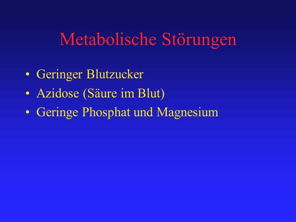 Metabolische Störungen Geringer Blutzucker Azidose (Säure im Blut) Geringe Phosphat und Magnesium