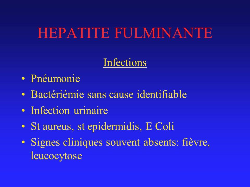 HEPATITE FULMINANTE Infections Pnéumonie Bactériémie sans cause identifiable Infection urinaire St aureus, st epidermidis, E Coli Signes cliniques souvent absents: fièvre, leucocytose