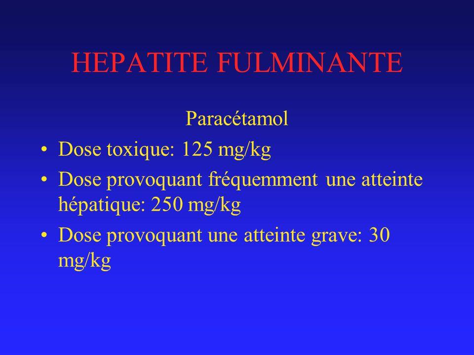 HEPATITE FULMINANTE Paracétamol Dose toxique: 125 mg/kg Dose provoquant fréquemment une atteinte hépatique: 250 mg/kg Dose provoquant une atteinte grave: 30 mg/kg