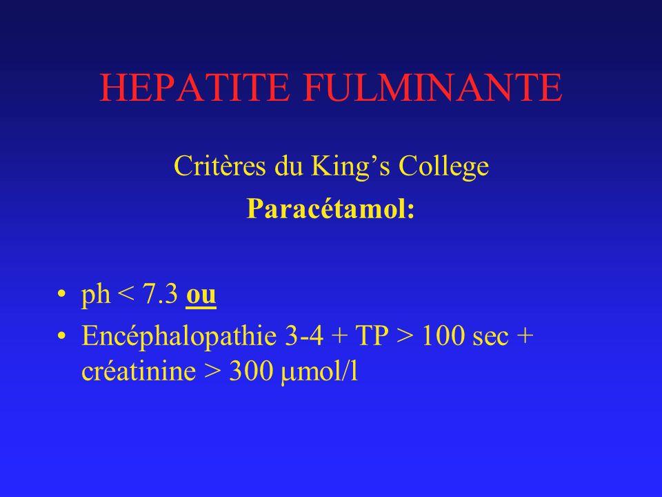 HEPATITE FULMINANTE Critères du Kings College Paracétamol: ph < 7.3 ou Encéphalopathie 3-4 + TP > 100 sec + créatinine > 300 mol/l