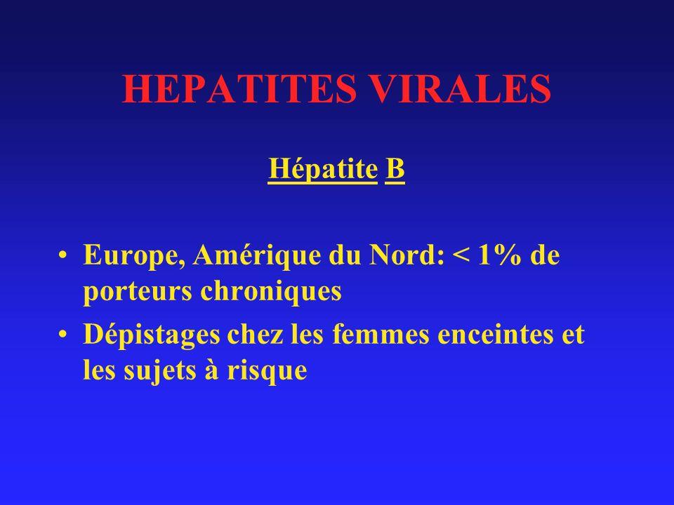 HEPATITES VIRALES Hépatite B Europe, Amérique du Nord: < 1% de porteurs chroniques Dépistages chez les femmes enceintes et les sujets à risque