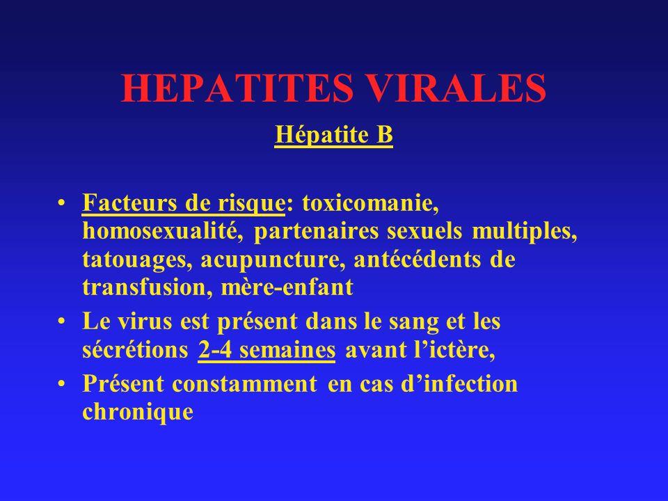 HEPATITES VIRALES Hépatite B Facteurs de risque: toxicomanie, homosexualité, partenaires sexuels multiples, tatouages, acupuncture, antécédents de transfusion, mère-enfant Le virus est présent dans le sang et les sécrétions 2-4 semaines avant lictère, Présent constamment en cas dinfection chronique