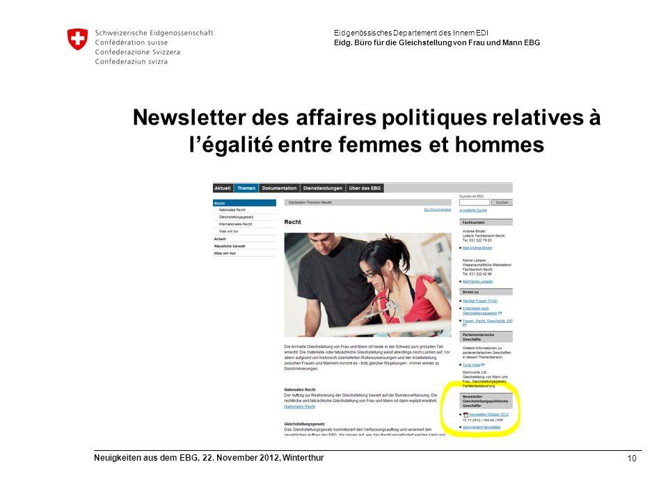 10 Neuigkeiten aus dem EBG, 22. November 2012, Winterthur Eidgenössisches Departement des Innern EDI Eidg. Büro für die Gleichstellung von Frau und Ma
