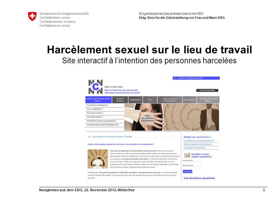 9 Neuigkeiten aus dem EBG, 22. November 2012, Winterthur Eidgenössisches Departement des Innern EDI Eidg. Büro für die Gleichstellung von Frau und Man