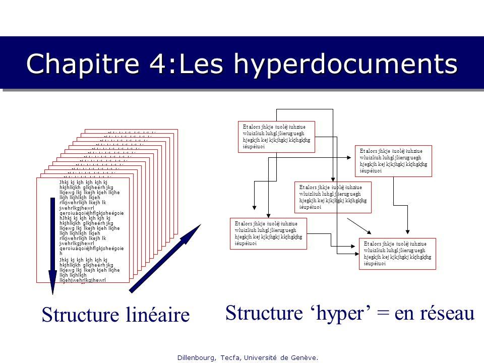 Dillenbourg, Tecfa, Université de Genève. Chapitre 4:Les hyperdocuments Jhkj kj kjh kjh kjh kj hkjhlkjkh glkjheérh jkg lkjewg lkj lkejh kjeh lkjhe lkj