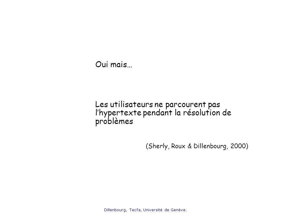 Dillenbourg, Tecfa, Université de Genève. Oui mais… Les utilisateurs ne parcourent pas lhypertexte pendant la résolution de problèmes (Sherly, Roux &