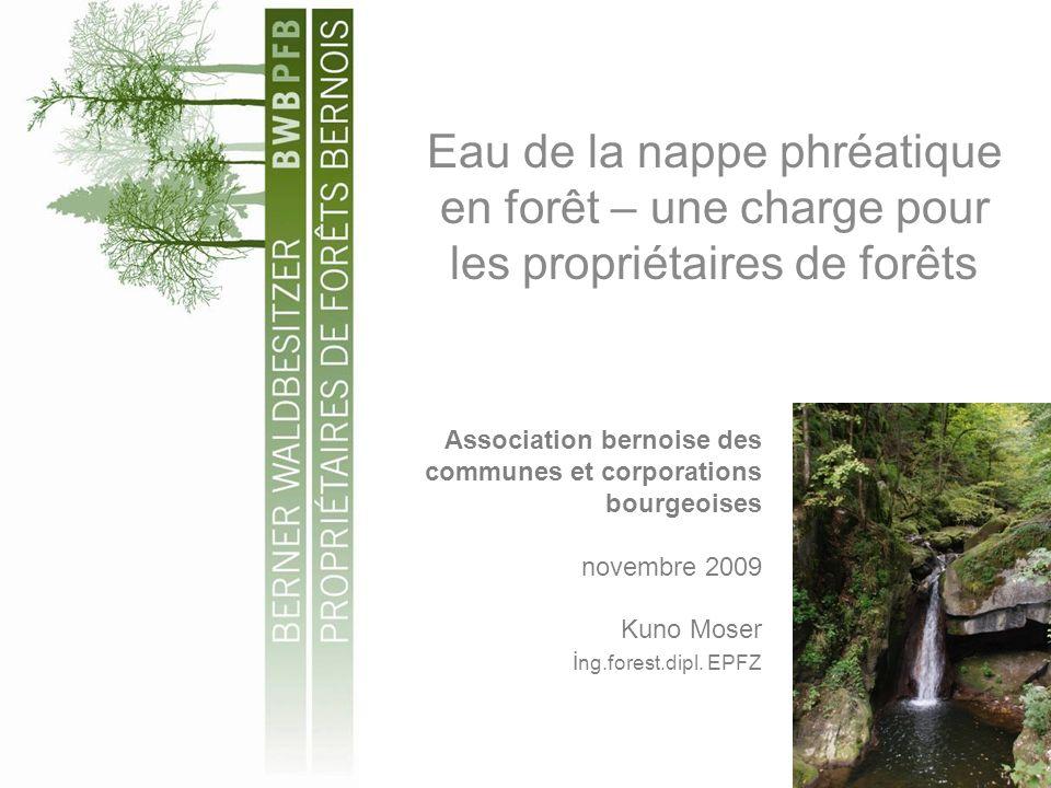 Eau de la nappe phréatique en forêt – une charge pour les propriétaires de forêts Association bernoise des communes et corporations bourgeoises novembre 2009 Kuno Moser i ng.forest.dipl.