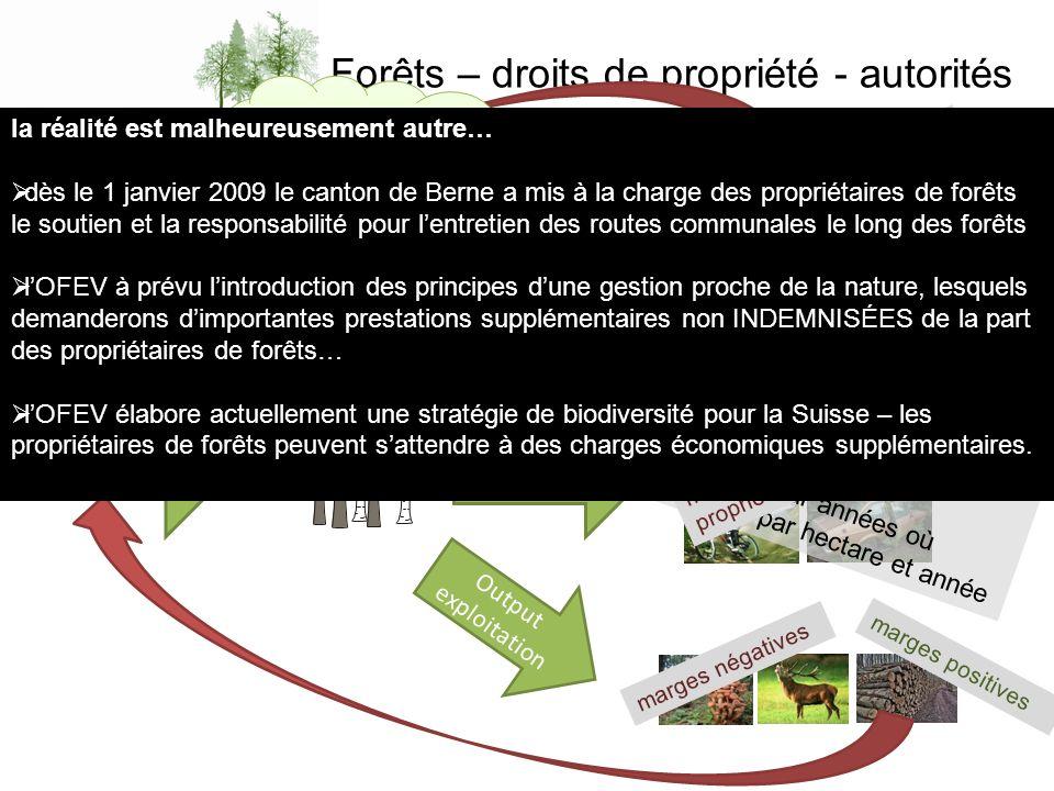 Forêts – droits de propriété - autorités Input propriétaires de forêts Output protection Output prestations Output exploitation Valeur économique du d