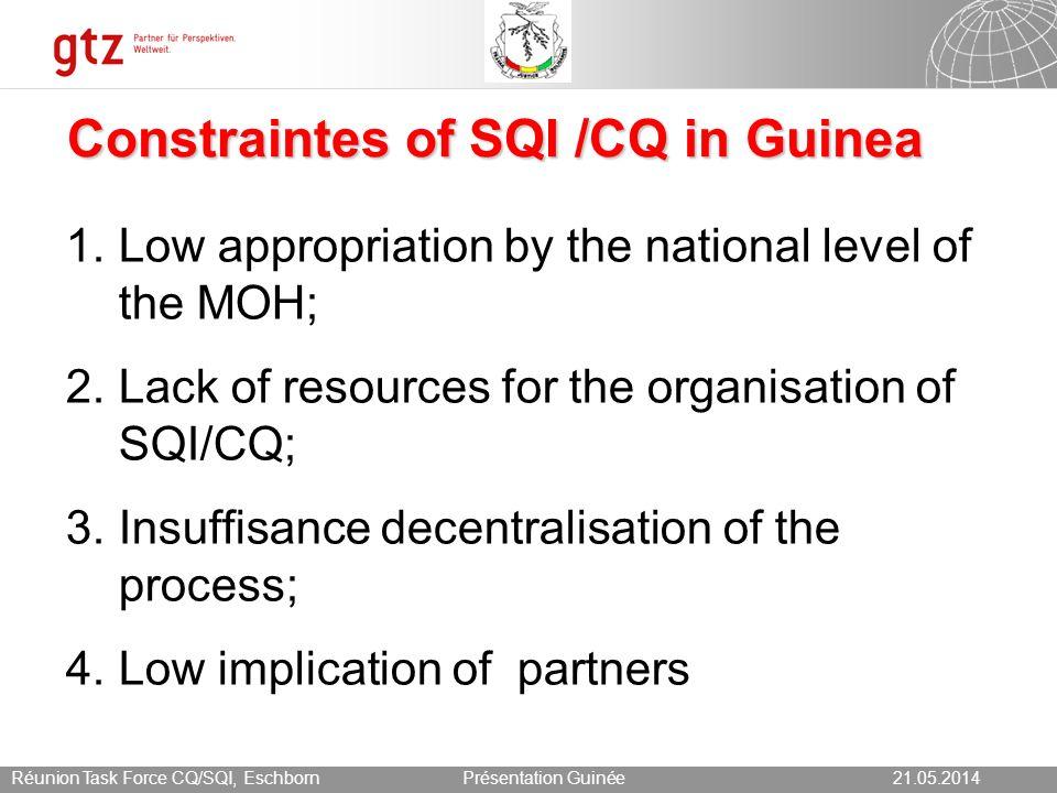 21.05.2014 Seite 14 Présentation Guinée21.05.2014Réunion Task Force CQ/SQI, Eschborn 14 Clients perception on changes «Waiting time has improved.